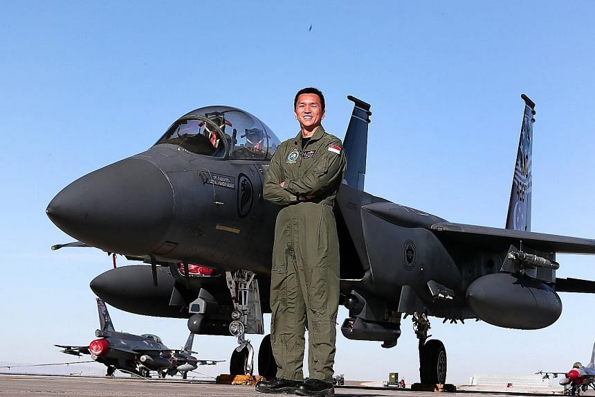 Forging Sabre Exercise director Brigadier-General Ho Kum Luen, with one of the F-15SG fighter aircraft hosted at Mountain Home Air Force Base in Idaho. The training airspace there is more than three times that of Singapore's training airspace. ST PHO