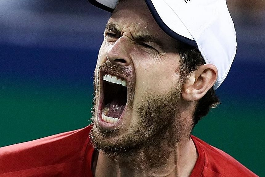 Andy Murray is ecstatic after beating Argentinian Juan Ignacio Londero in three sets yesterday at the Shanghai Masters. He next faces Fabio Fognini in the last 32.