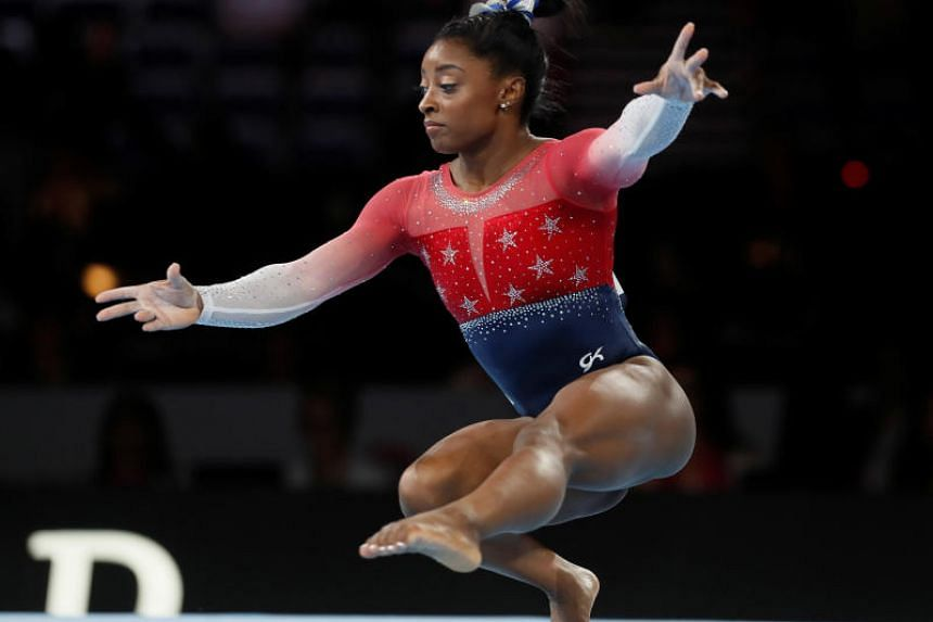 USA's Simone Biles in action during the floor event of the 2019 World Artistic Gymnastics Championships Women's Team Final held in Stuttgart, Germany, on Oct 8, 2019.