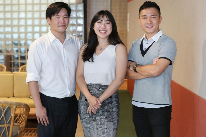 The cross-agency GoBusiness Licensing Portal team comprises (from left) Christopher Khoo from SNDGO, Jocelyn Lim from MTI, and Daniel Chan from  GovTech.