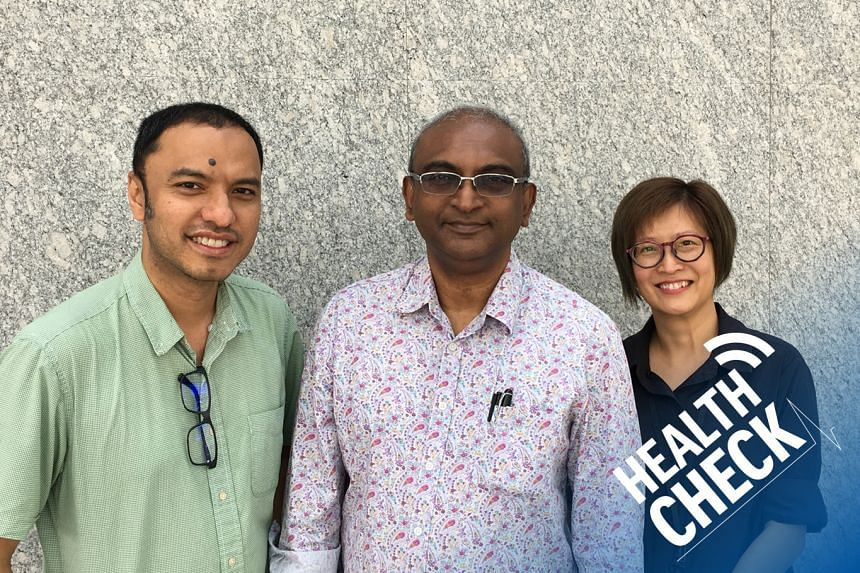 ST correspondent Joyce Teo (right) and podcasting head Ernest Luis (left) host Dr Munidasa Winslow, a well-known addictions expert and the founder of Promises Healthcare.