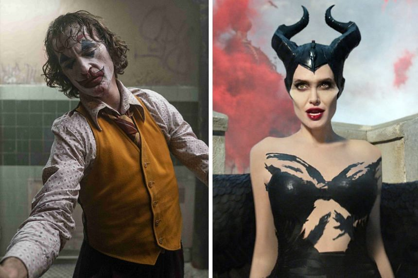Joaquin Phoenix in Joker (left) and Angelina Jolie in Maleficent: Mistress Of Evil (right).