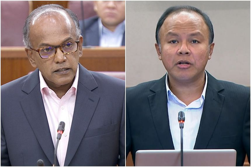 Home Affairs and Law Minister K. Shanmugam (left) expressed surprise and concern that Workers' Party MP Faisal Manap did not fully agree with the principle of the separation of religion from politics.