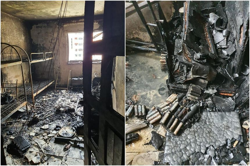 The fire happened at 10.40am in a Housing Board flat on the 5th floor of Block 416 Bukit Batok West Avenue 4.
