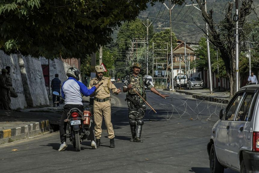A security checkpoint in Srinagar, India, on Sept 16, 2019.