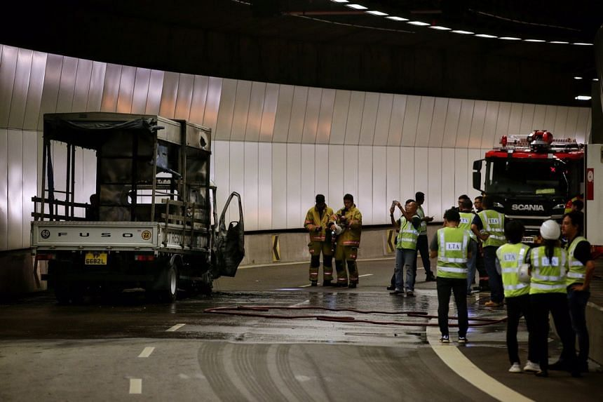 A lorry had caught fire at the Upper Paya Lebar exit on the Kallang-Paya Lebar Expressway towards the Tampines Expressway on Oct 8, 2019.
