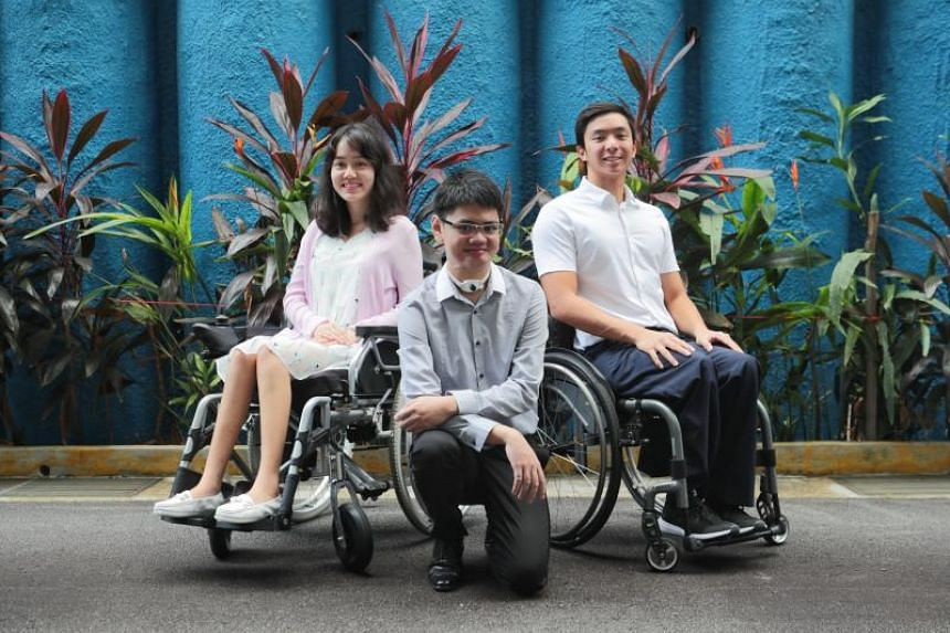 (From left) Ms Foo Xu Hui, Mr Samuel Lim and Mr Toh Wei Soong were among four recipients of the Asia Pacific Breweries Foundation Scholarship for Persons with Disabilities.