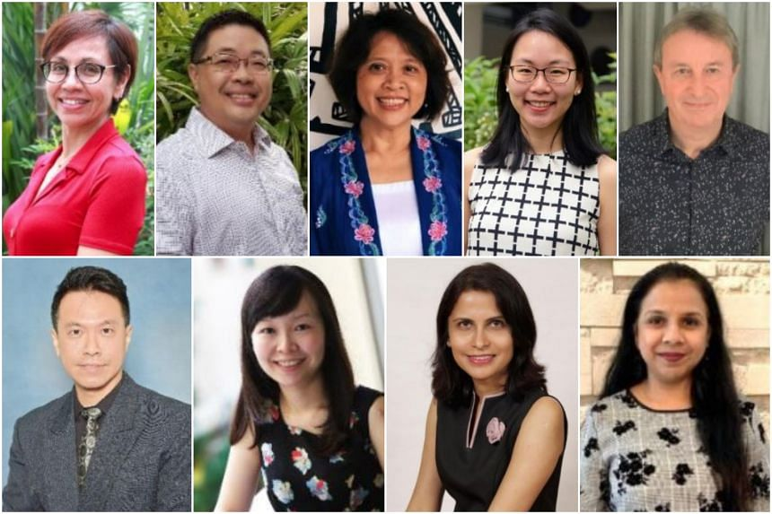 (Clockwise from top left) Mrs Joy Drysdale from CHIJ Primary (Toa Payoh), Mr Jeffrey Ong from Hua Yi Secondary School, Madam Marianne Cheong Swee Choo from National Junior College (Secondary Section), Ms Kok Li-en from Eunoia Junior College, Mr Nicho