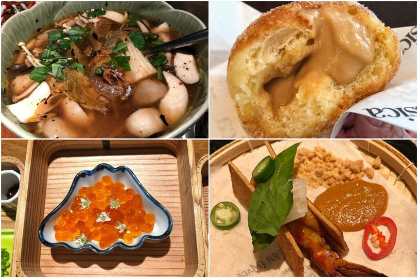 Food editor Tan Hsueh Yun visited restaurants in Bangkok that she would not usually go to, including (clockwise from top left) Riva Arun Hotel, Brassica Bangkok, Taan and Mihara Tofuten.