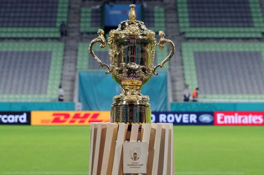 The Webb Ellis Cup is displayed ahead of the Rugby World Cup match between South Africa and Canada at Kobe Misaki Stadium in Kobe, Japan on Oct 8, 2019.