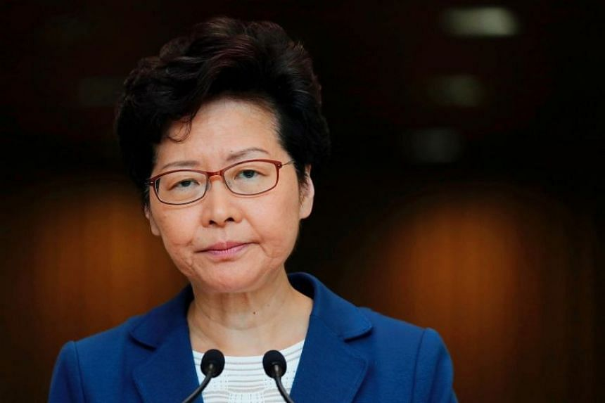 Chief Executive Carrie Lam at a news conference in Hong Kong on Oct 8, 2019.
