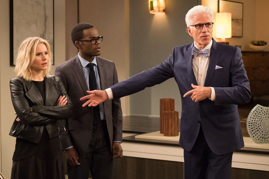 (From left) Actors Kristen Bell, William Jackson Harper and Ted Danson in The Good Place.