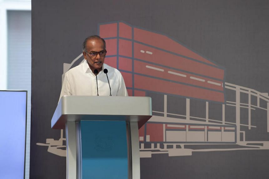 Home Affairs and Law Minister K. Shanmugam during the official opening of Kallang Fire Station on Oct 9, 2019.