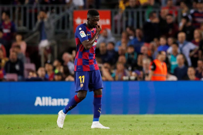 Barcelona's Ousmane Dembele after being sent off by the referee.