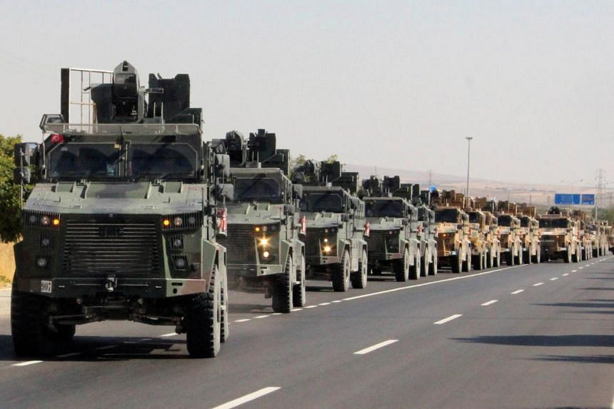 A Turkish miltary convoy in Kilis near the Turkish-Syrian border, Turkey, on Oct 9, 2019. Turkey says it is ready to advance into north-east Syria now that the United States has begun withdrawing troops from the Turkey-Syria frontier.