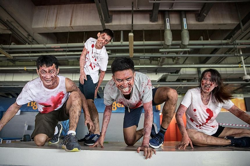 Participants at a preview battle at the National Stadium on Tuesday, ahead of the Zedtown Asia: Battle For Singapore event on Oct 26.