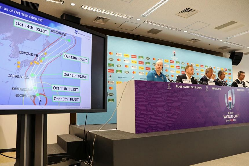 Rugby World Cup officials giving updates on preparations for Typhoon Hagibis, in Tokyo, Japan, on Oct 10, 2019.
