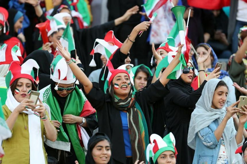 Iranian women during the World Cup qualification match between Iran and Cambodia at the Azadi stadium in Teheran on Oct 10, 2019.