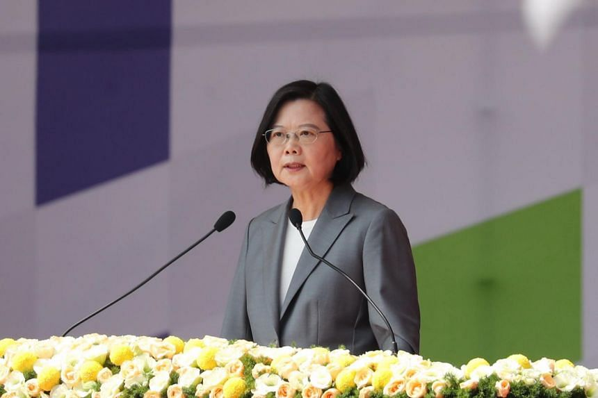 """Taiwan President Tsai Ing-wen speaking at National Day celebrations in Taipei on Oct 10, 2019. She said Taiwan faced """"unprecedented change"""" in the world and vowed to fight for its survival."""