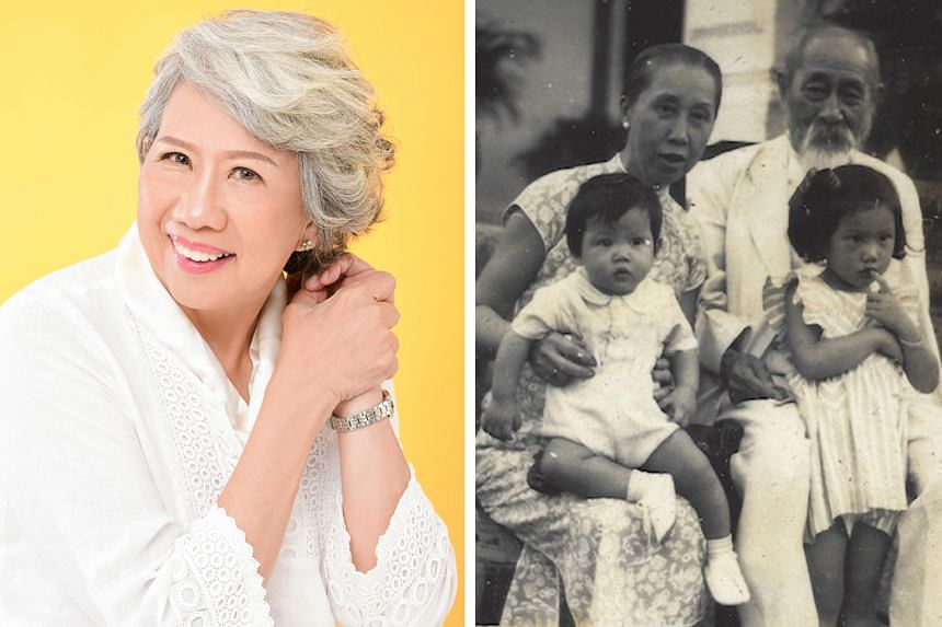 Playwright Stella Kon (left) began writing the musical about Singapore pioneer Lim Boon Keng almost 30 years ago. (Right) In a photo taken in the late 1940s, Dr Lim holds Kon, while his second wife Grace Yin holds their great-grandson Lim Su Min.