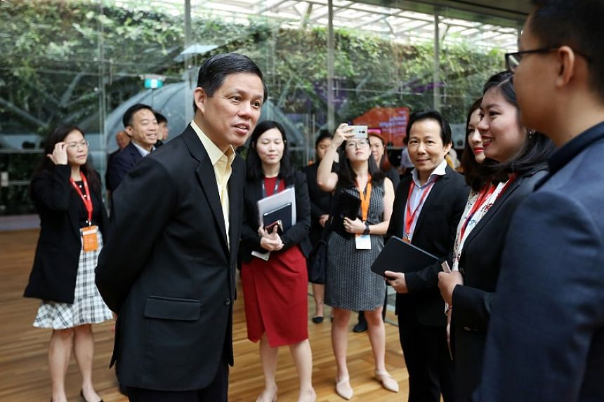 Minister for Trade and Industry Chan Chun Sing (left) at the launch event for the Global Ready Talent programme at the National Gallery on Oct 10, 2019.