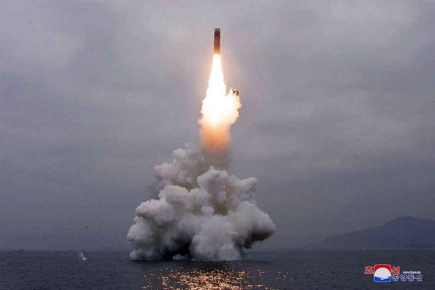 What appears to be a submarine-launched ballistic missile flies in an undisclosed location in this undated picture released by North Korea's Central News Agency on Oct 2, 2019.