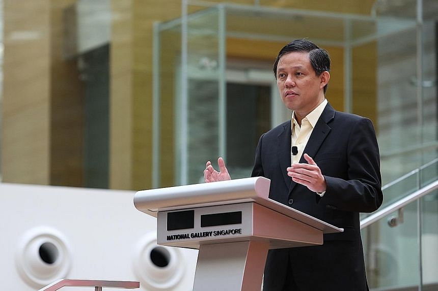 Trade and Industry Minister Chan Chun Sing encouraged young people to build up their skills and international knowledge through gaining overseas exposure. PHOTO: LIANHE ZAOBAO