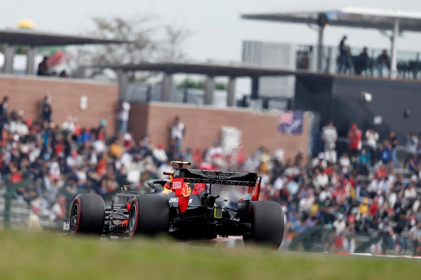 Red Bull's Alexander Albon in action during practice in Suzuka, Japan on Oct 11, 2019.