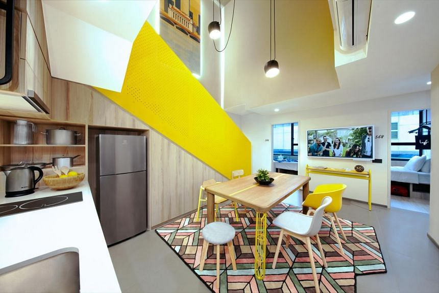 A six-bedroom duplex unit of lyf Funan Singapore's All Together apartments.