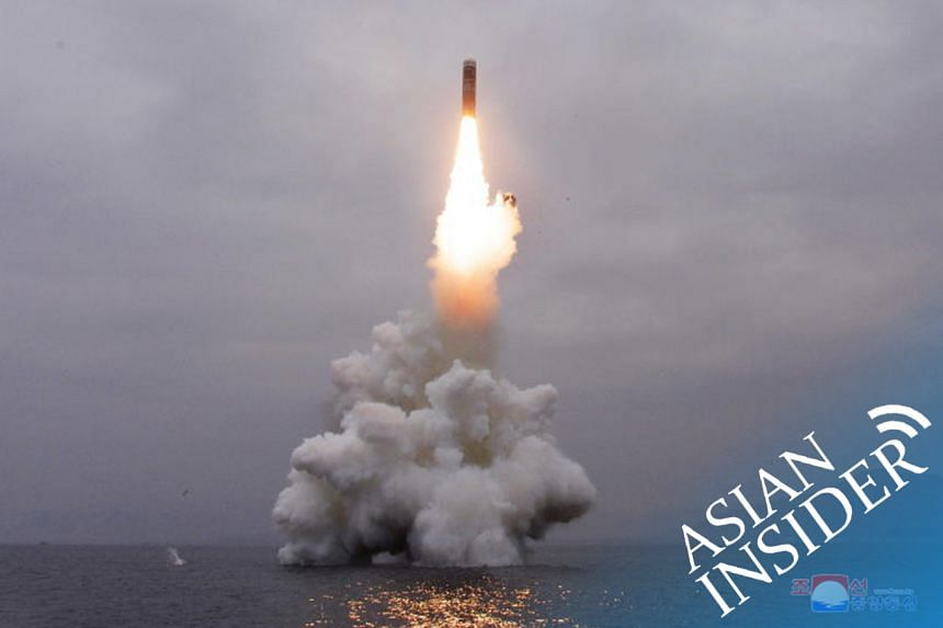 What appears to be a submarine-launched ballistic missile flies in an undisclosed location in this undated picture released by North Korea's Central News Agency on Oct 2, 2019