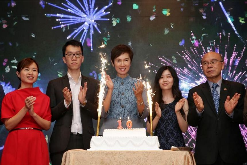 (From left) Business China CEO Tin Pei Ling, Business China Youth Chapter founding member Chang Ziqian, Minister for Manpower and Second Minister for Home Affairs Josephine Teo, Vice-President (External) of Business China Youth Chapter Alvona Loh, an