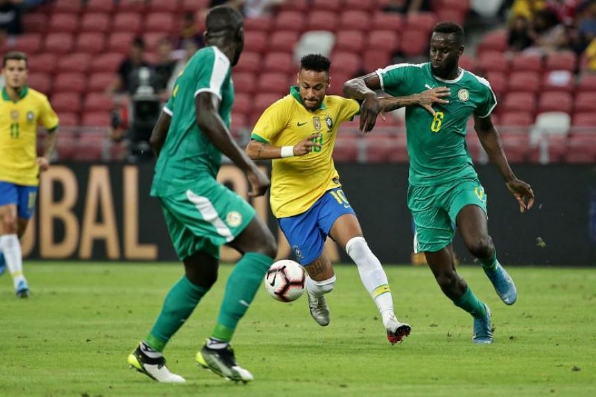 Brazil's Neymar Junior in action during an international friendly against Senegal at the National Stadium on Oct 10, 2019.