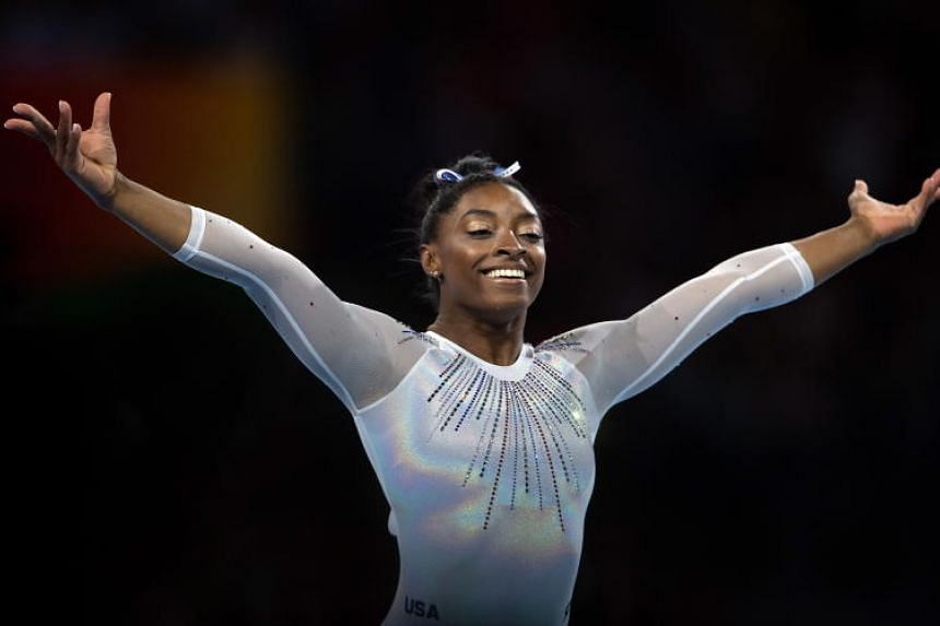 Simone Biles of USA competes in the Floor women's All-Around Final at the FIG Artistic Gymnastics World Championships in Stuttgart, Germany, on Oct 10, 2019.