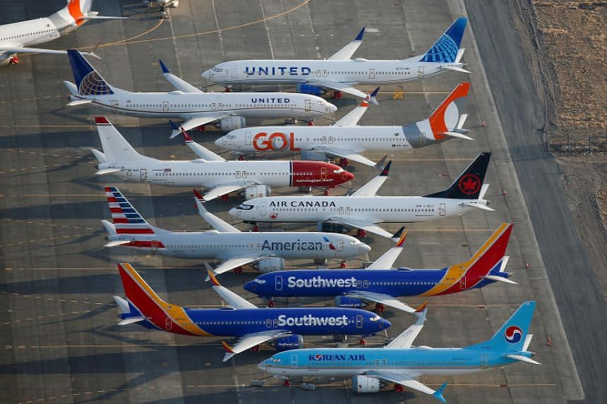 An aerial photo shows Boeing 737 MAX aircraft at Boeing facilities at the Grant County International Airport in Moses Lake, Washington on Sept 16, 2019.