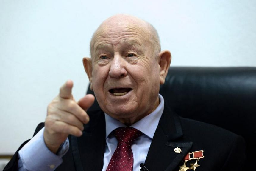 Soviet cosmonaut Alexei Leonov in a photo taken in 2015. Mr Leonov made history in 1965 when he left a spacecraft during the Voskhod 2 mission for a spacewalk that lasted 12 minutes and nine seconds.