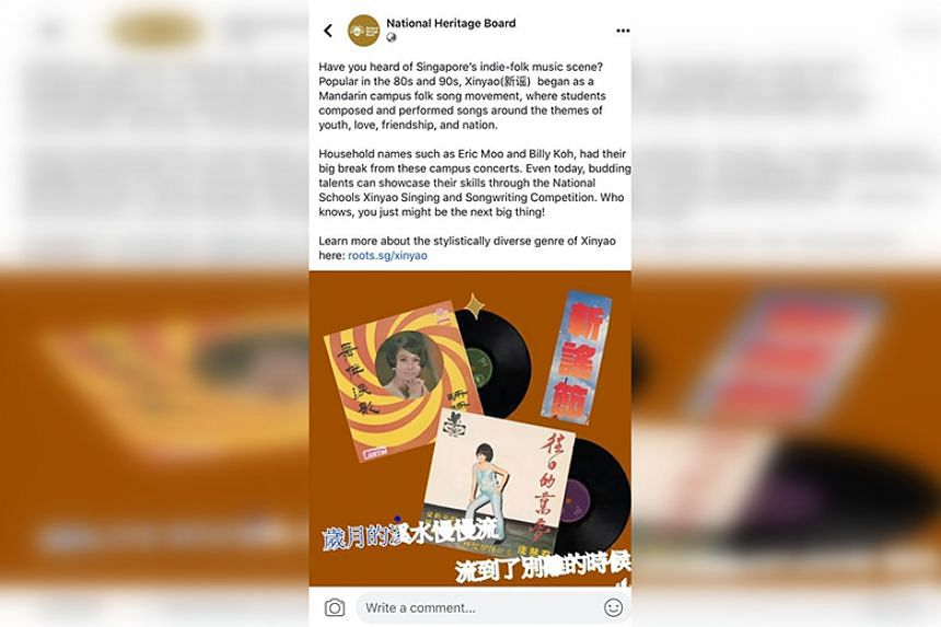 The Facebook post was accompanied with pictures of 1960s records from before the xinyao movement, and featured inaccurate lyrics from xinyao pioneer Liang Wern Fook's beloved creation Xi Shui Chang Liu (Friendship Forever).