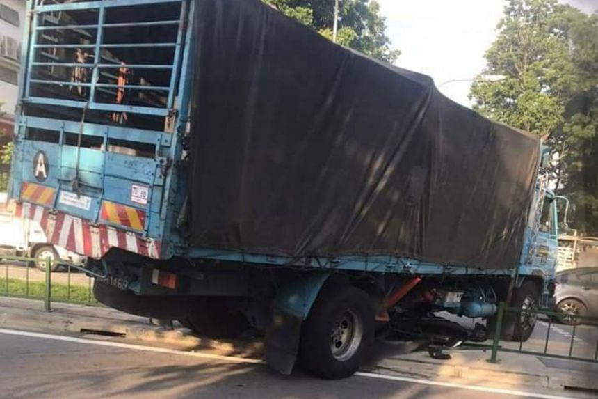 A body was pinned under a Malaysian-registered lorry during the accident that took place at the junction of Woodlands Road and Mandai Estate at 7.55am.