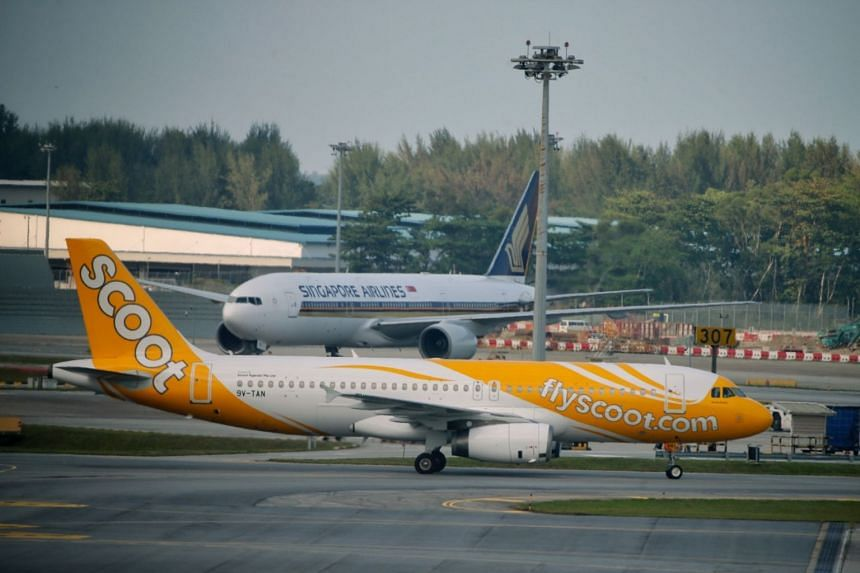 A file photo taken on April 11, 2019, showing Singapore Airlines and Scoot planes at Changi Airport Terminal 2. Flights of the two carriers have been affected by Super Typhoon Hagibis.