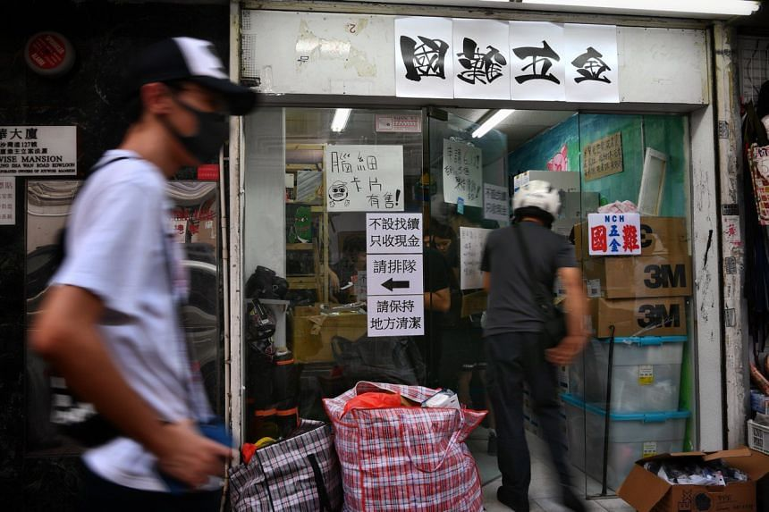 The National Calamity Hardware Store at Cheung Sha Wan Road sells protest essentials - hard hats, gas masks and goggles.