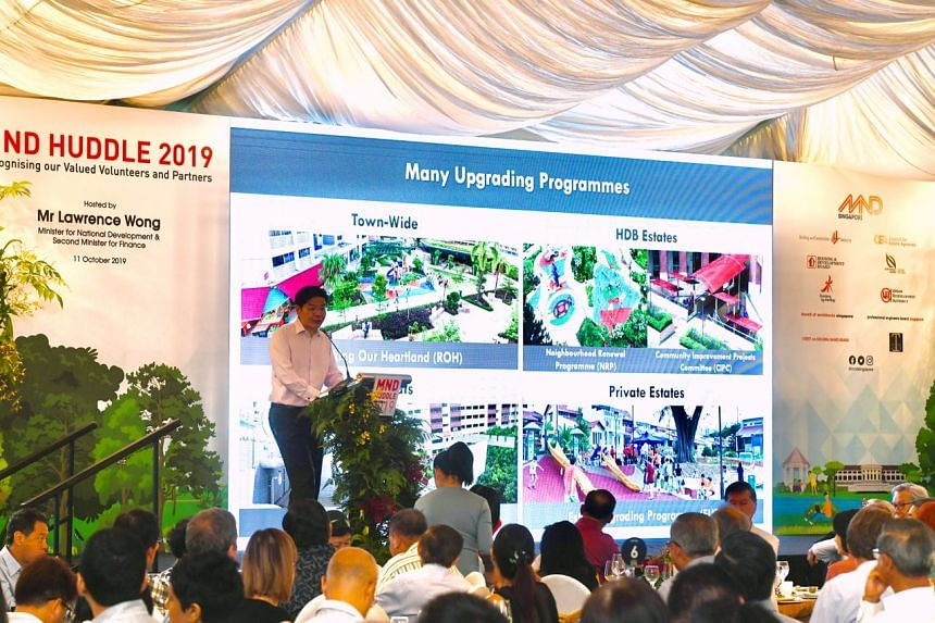 Minister for National Development Lawrence Wong speaking at the annual MND Huddle at Fort Canning Park on Oct 11, 2019.