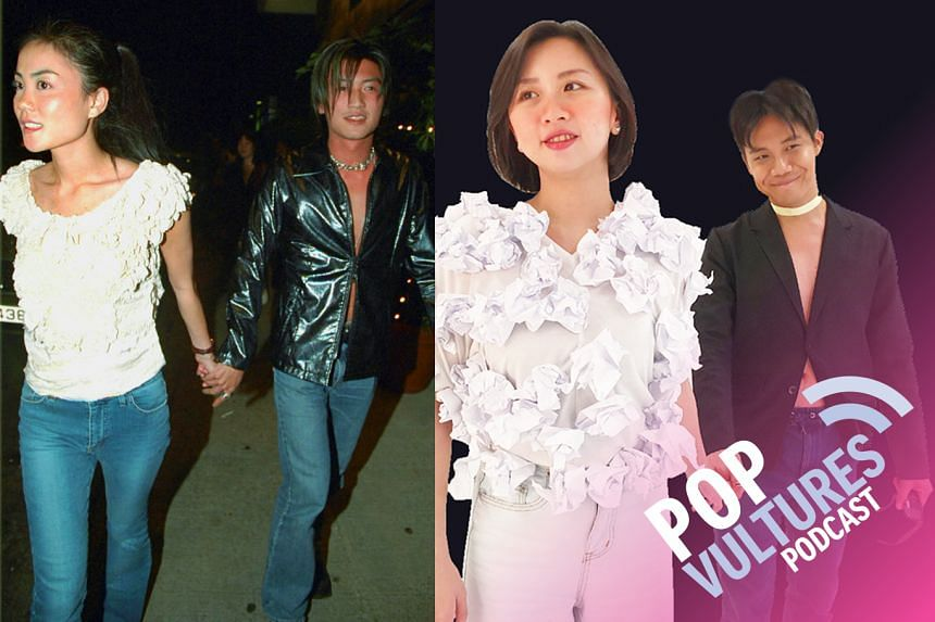 The famous moment in 2000 when celebrities Faye Wong and Nicholas Tse first went public (left). The #PopVultures Jan Lee and Yeo Sam Jo spoofing this iconic photo(right).