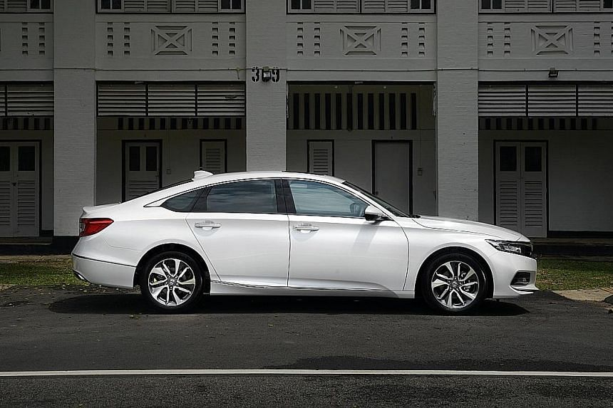 The Honda Accord comes with adaptive cruise control, which allows the car to drive at a pre-selected speed and keep a pre-set distance from the vehicle in front.