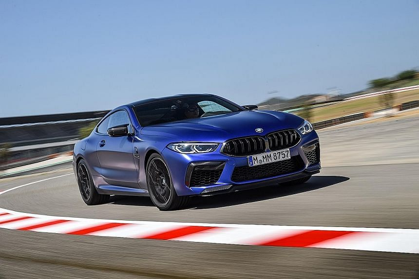 The BMW M8 Competition Convertible sprints to 100kmh in 3.3 seconds, while the Coupe (above) does it in 3.2 seconds.