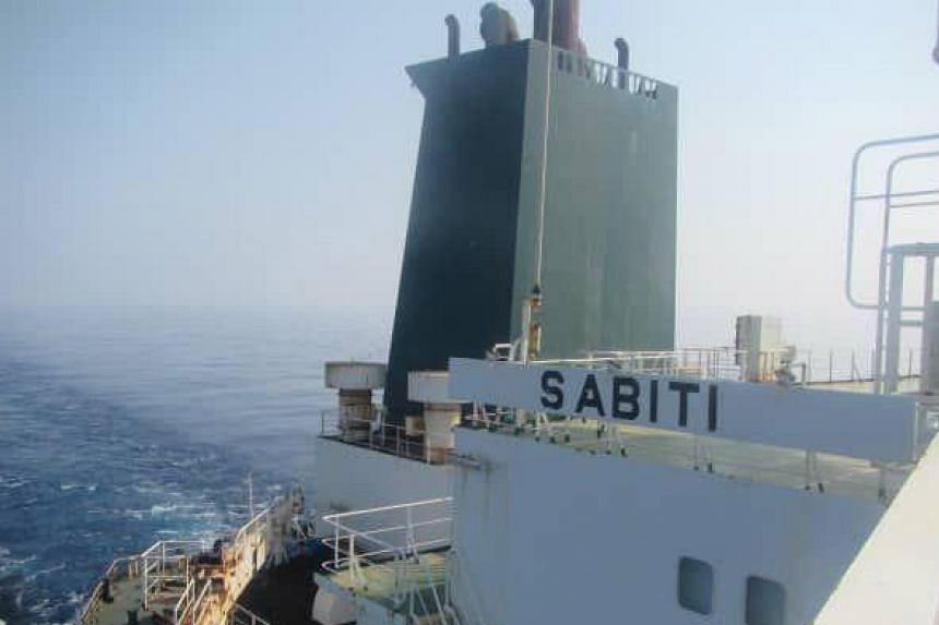 The oil tanker Sabiti sailing in the Red Sea near the Saudi Arabian port of Jaddah on Oct 11, 2019, in a handout from the Iranian state TV official website IRIB.