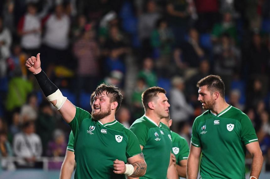 Ireland prop Andrew Porter (left) celebrating after his team defeated Samoa to progress to the quarter-finals of the Rugby World Cup, in Fukuoka, Japan, on Oct 12, 2019.