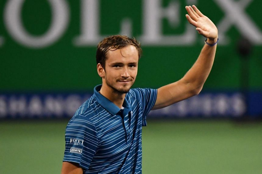 Daniil Medvedev celebrating after defeating Stefanos Tsitsipas in their men's singles semi-final match at the Shanghai Masters tennis tournament in Shanghai on Oct 12, 2019.