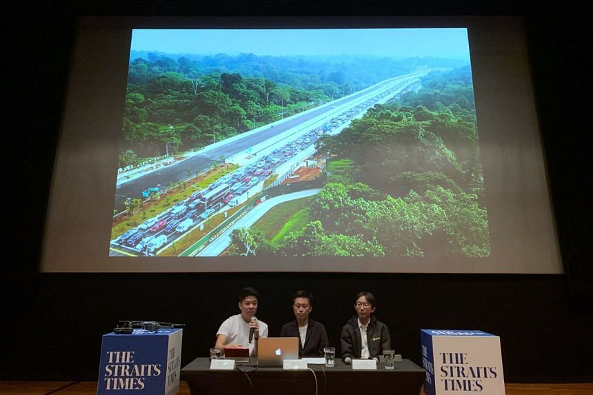 (From left) ST photojournalists Benjamin Seetor, Ong Wee Jin and Lim Yaohui giving a talk on Drone Photography at the National Museum of Singapore on Oct 12, 2019.