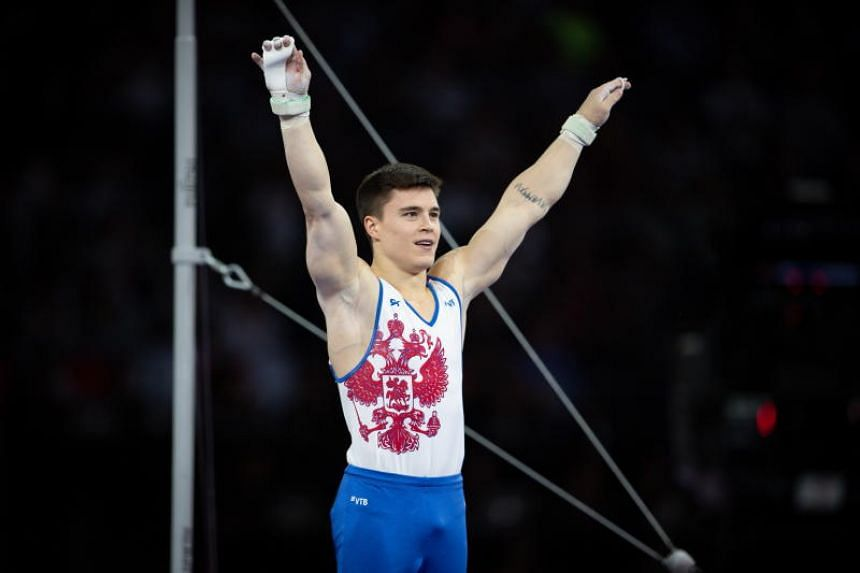 Nikita Nagornyy of Russia reacts after the Horizontal bar men's All-Around Final at the FIG Artistic Gymnastics World Championships in Stuttgart, Germany, on Oct 11, 2019.
