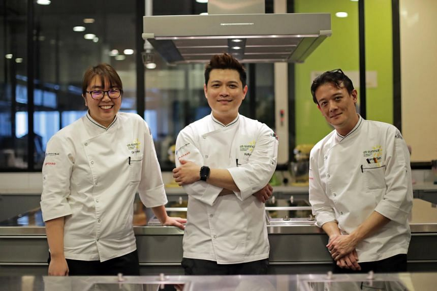 (From left) At-Sunrice GlobalChef Academy's chef instructors Gn Ying Wei, Kelly Lee, and Aaron Goh.