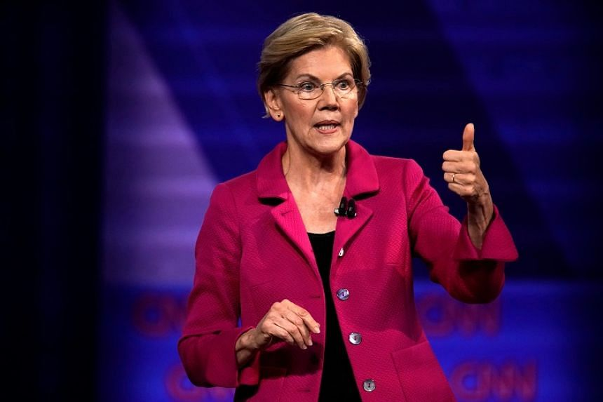 Democratic presidential candidate Elizabeth Warren speaks during a townhall in Los Angeles, California, on Oct 11, 2019.  Her advertisement calls on users to hold the Facebook CEO accountable and to back her mission.